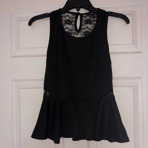 Black peplum lace tank top